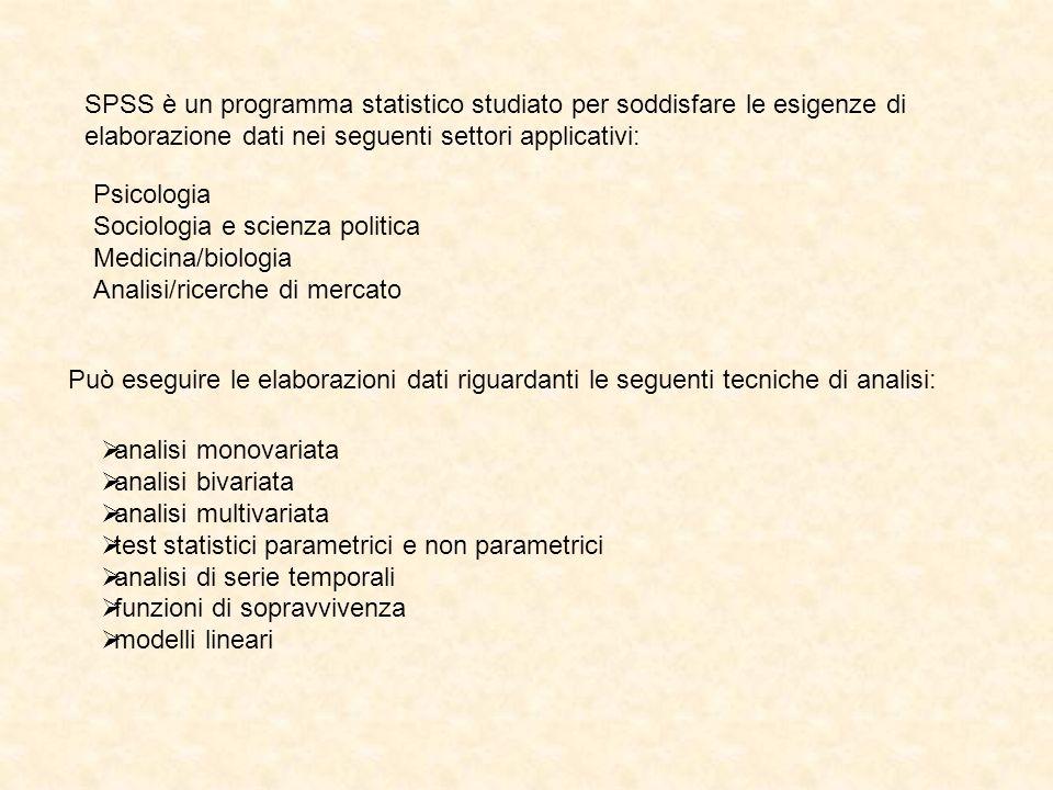 SPSS è un programma statistico studiato per soddisfare le esigenze di elaborazione dati nei seguenti settori applicativi: