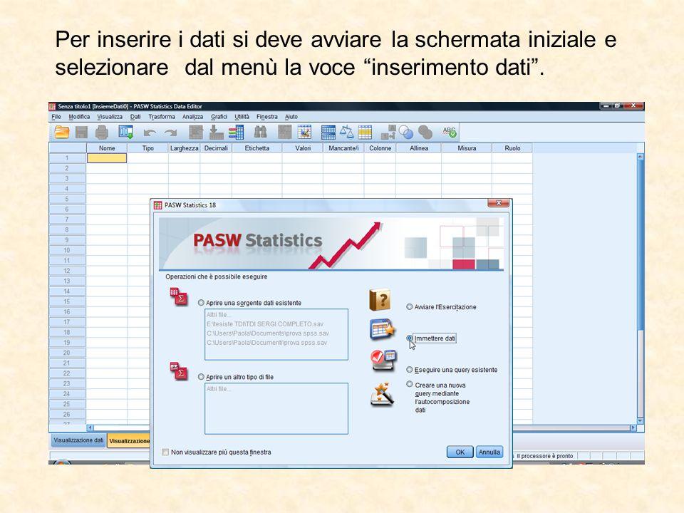 Per inserire i dati si deve avviare la schermata iniziale e selezionare dal menù la voce inserimento dati .
