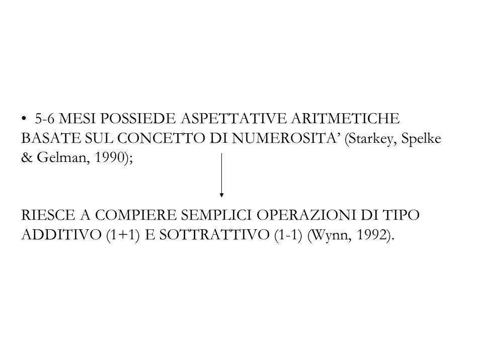 5-6 MESI POSSIEDE ASPETTATIVE ARITMETICHE BASATE SUL CONCETTO DI NUMEROSITA' (Starkey, Spelke & Gelman, 1990); RIESCE A COMPIERE SEMPLICI OPERAZIONI DI TIPO ADDITIVO (1+1) E SOTTRATTIVO (1-1) (Wynn, 1992).