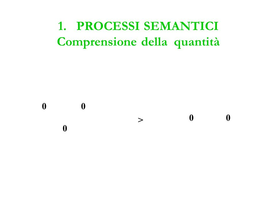 1. PROCESSI SEMANTICI Comprensione della quantità