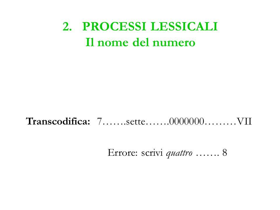 2. PROCESSI LESSICALI Il nome del numero