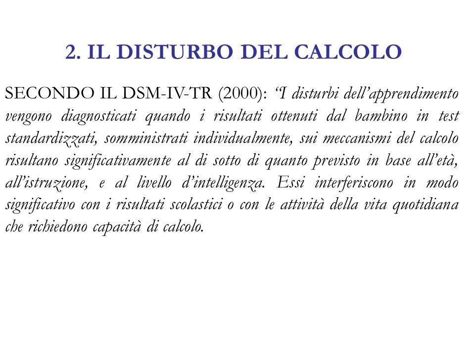 2. IL DISTURBO DEL CALCOLO