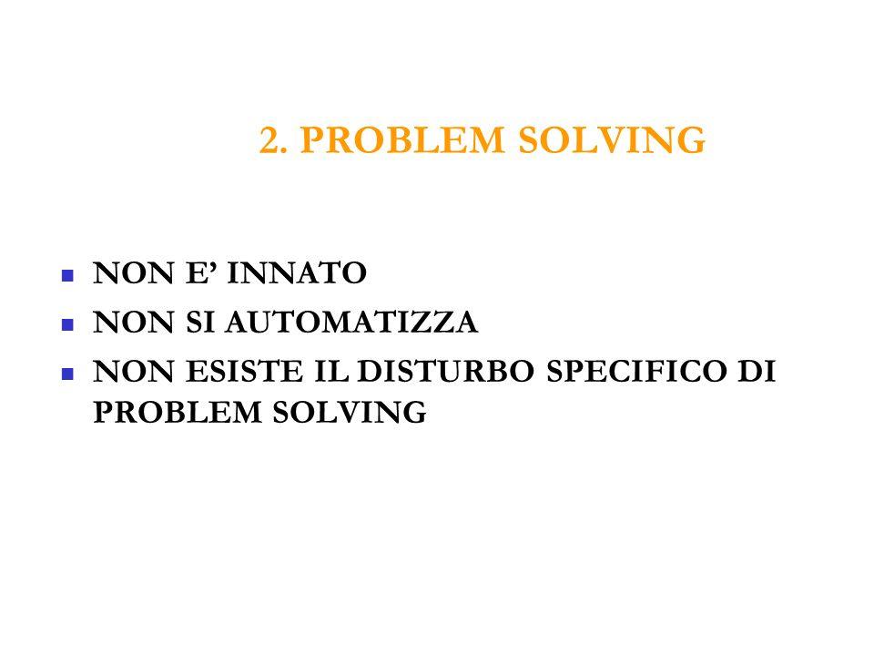 2. PROBLEM SOLVING NON E' INNATO NON SI AUTOMATIZZA