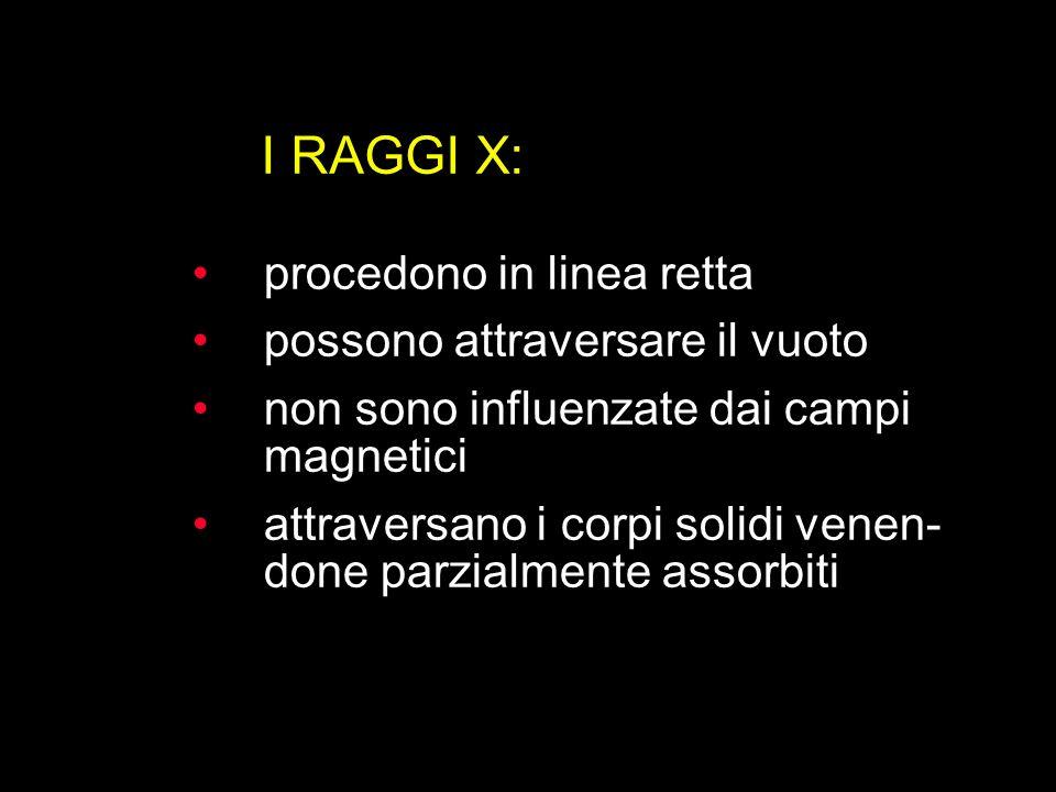 I RAGGI X: procedono in linea retta possono attraversare il vuoto