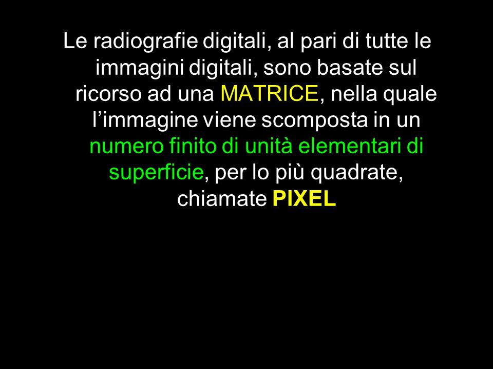 Le radiografie digitali, al pari di tutte le immagini digitali, sono basate sul ricorso ad una MATRICE, nella quale l'immagine viene scomposta in un numero finito di unità elementari di superficie, per lo più quadrate, chiamate PIXEL