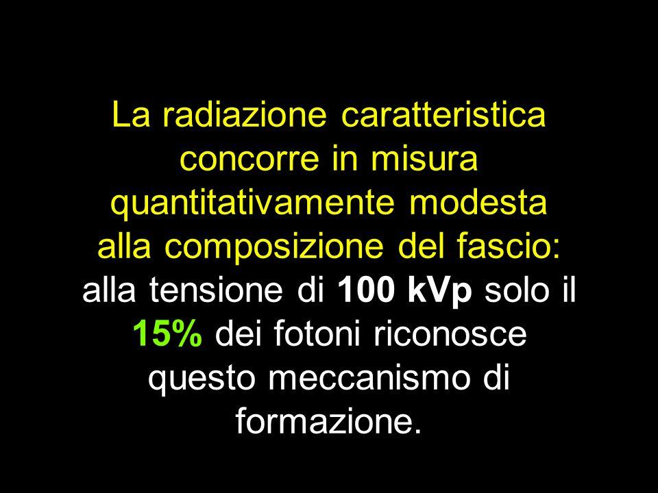 La radiazione caratteristica concorre in misura quantitativamente modesta alla composizione del fascio:
