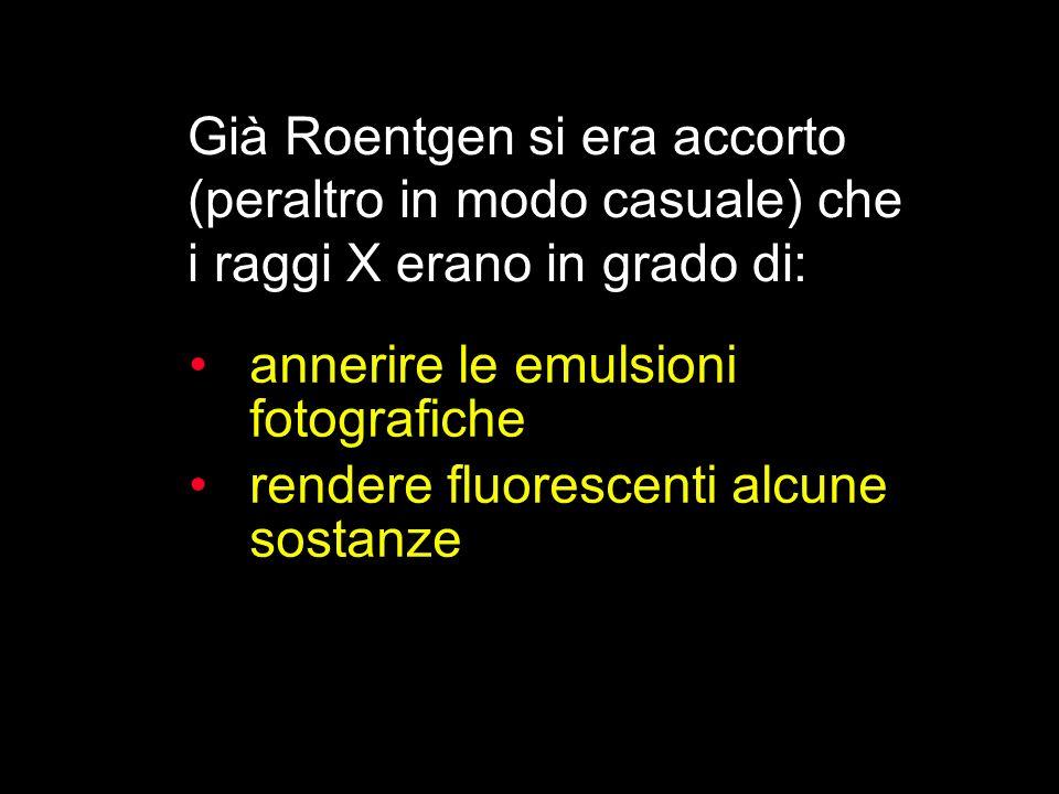 Già Roentgen si era accorto (peraltro in modo casuale) che i raggi X erano in grado di: