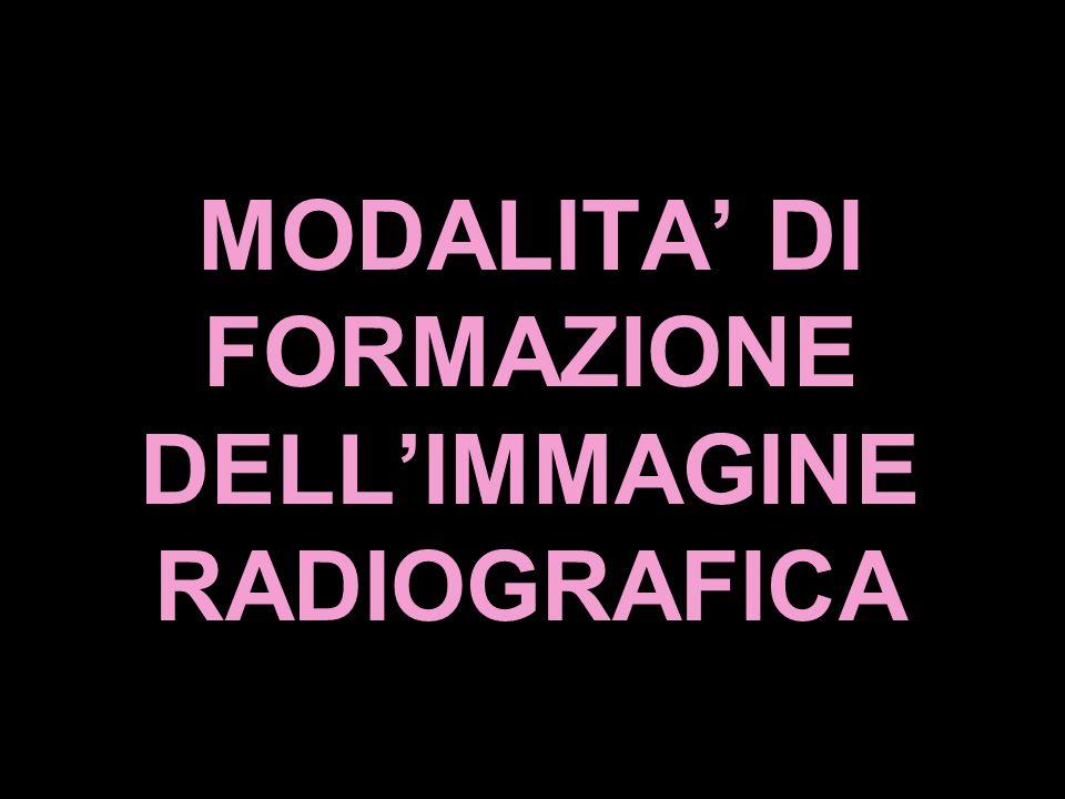 MODALITA' DI FORMAZIONE DELL'IMMAGINE RADIOGRAFICA