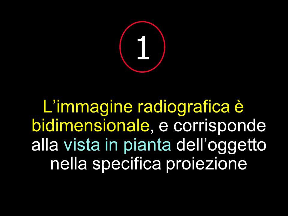 1L'immagine radiografica è bidimensionale, e corrisponde alla vista in pianta dell'oggetto nella specifica proiezione.