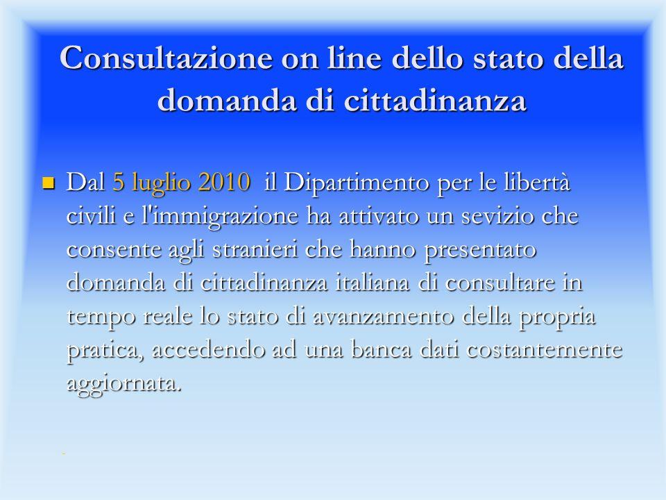 Consultazione on line dello stato della domanda di cittadinanza