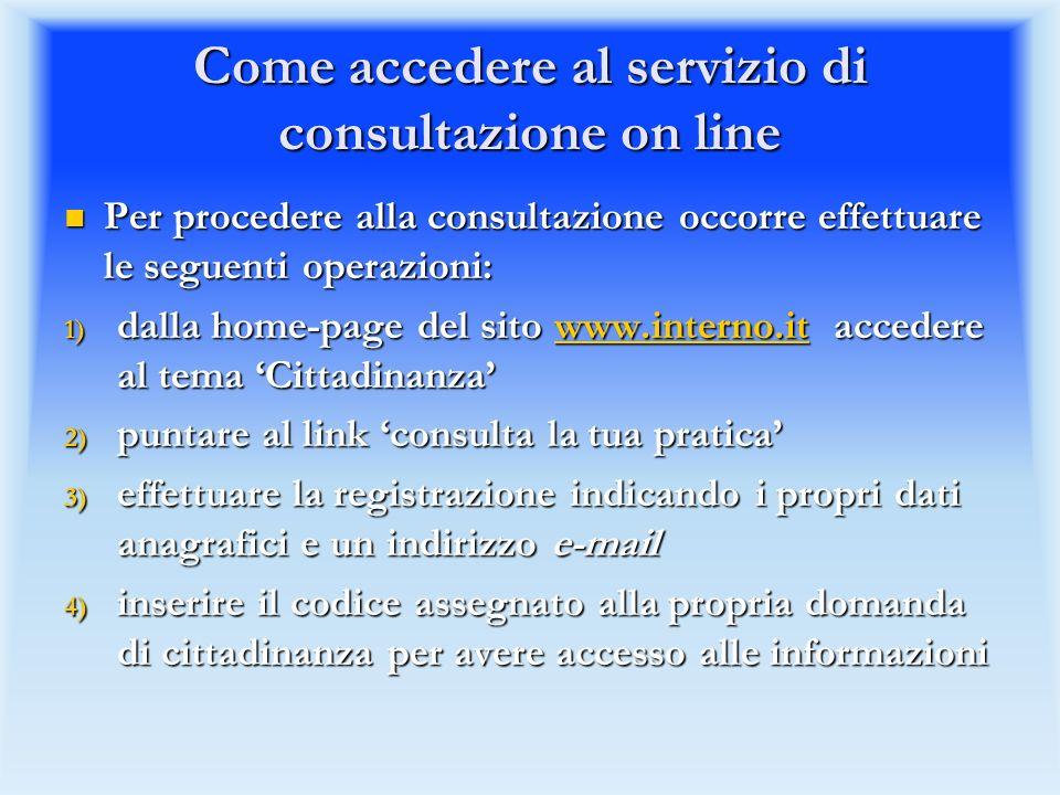 Come accedere al servizio di consultazione on line