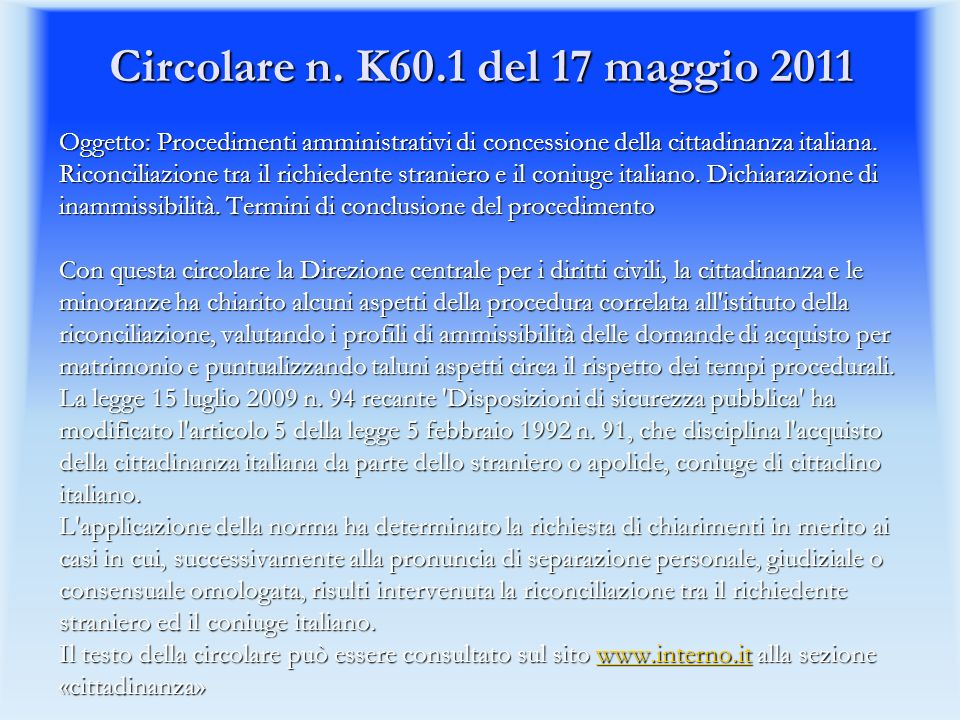 Circolare n. K60.1 del 17 maggio 2011