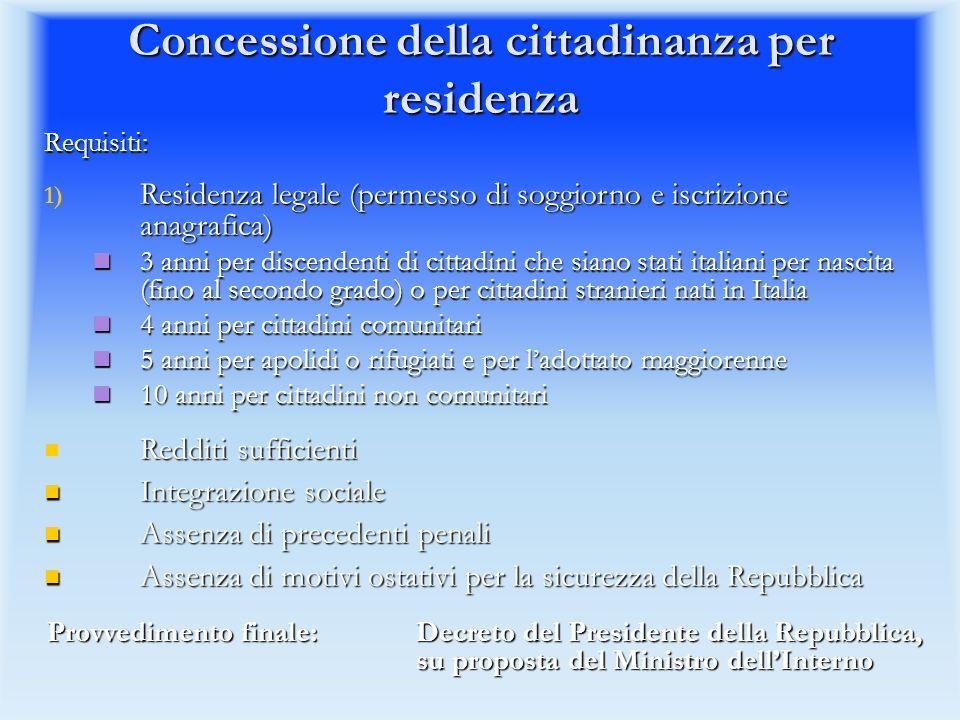 Concessione della cittadinanza per residenza