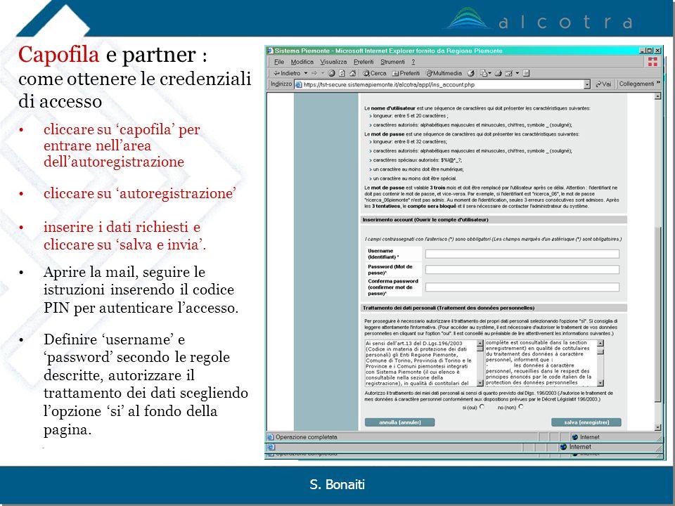Capofila e partner : come ottenere le credenziali di accesso