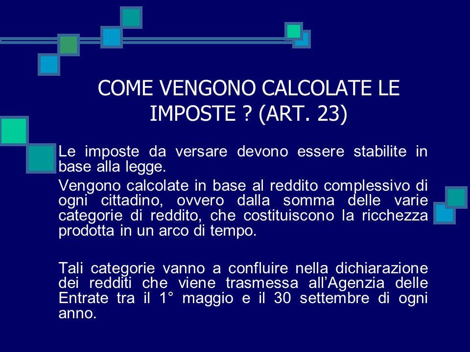 COME VENGONO CALCOLATE LE IMPOSTE (ART. 23)