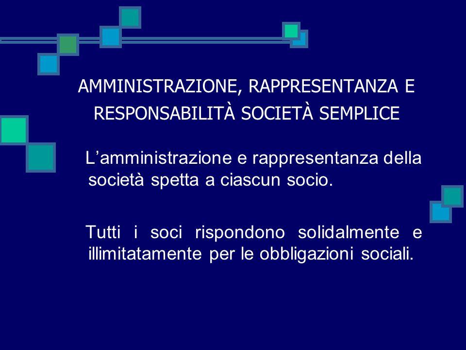 AMMINISTRAZIONE, RAPPRESENTANZA E RESPONSABILITÀ SOCIETÀ SEMPLICE