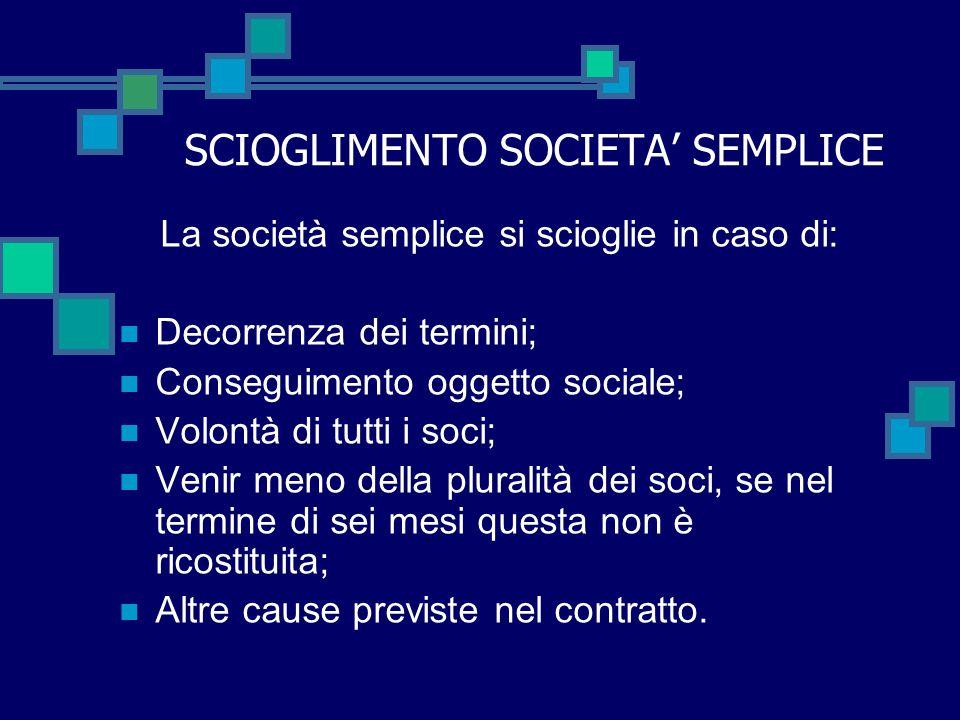 SCIOGLIMENTO SOCIETA' SEMPLICE