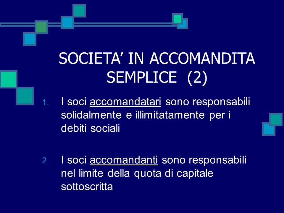 SOCIETA' IN ACCOMANDITA SEMPLICE (2)