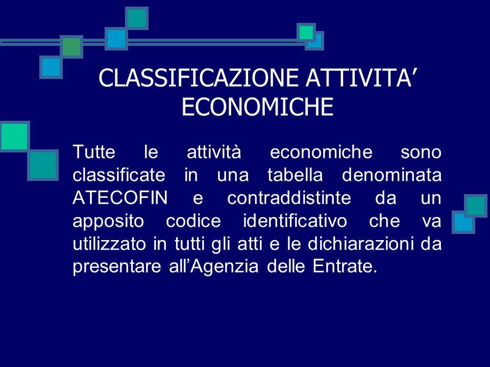 CLASSIFICAZIONE ATTIVITA' ECONOMICHE
