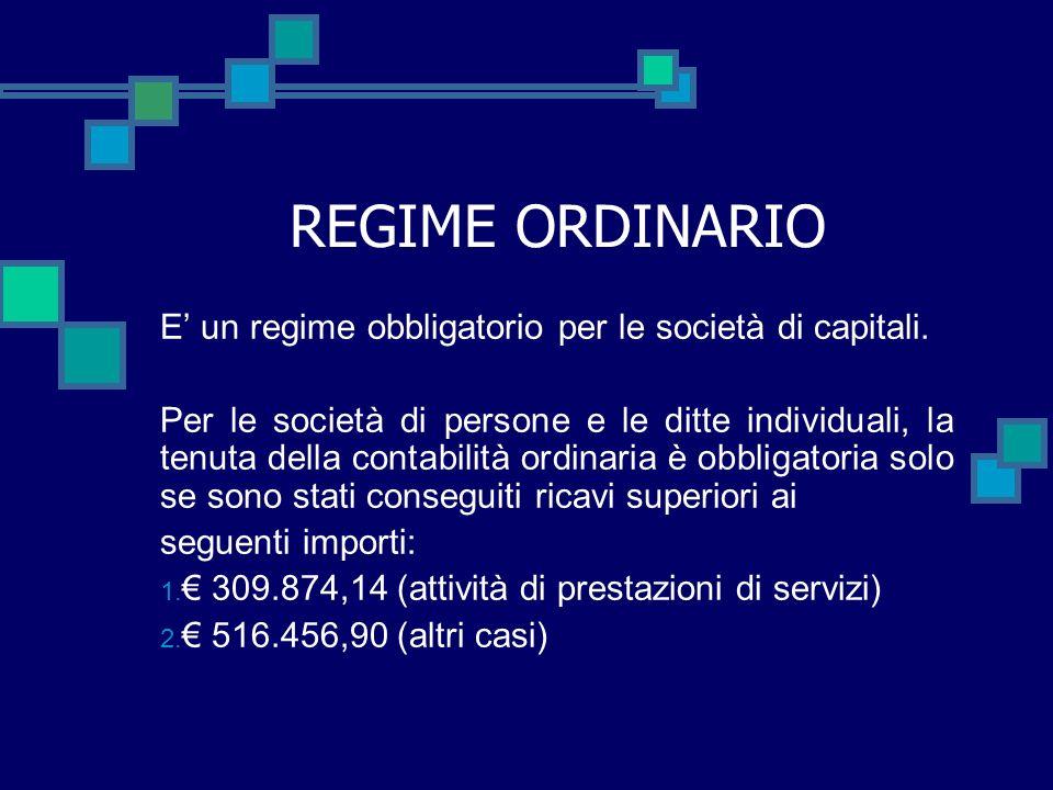 REGIME ORDINARIO E' un regime obbligatorio per le società di capitali.