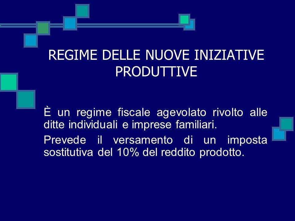 REGIME DELLE NUOVE INIZIATIVE PRODUTTIVE