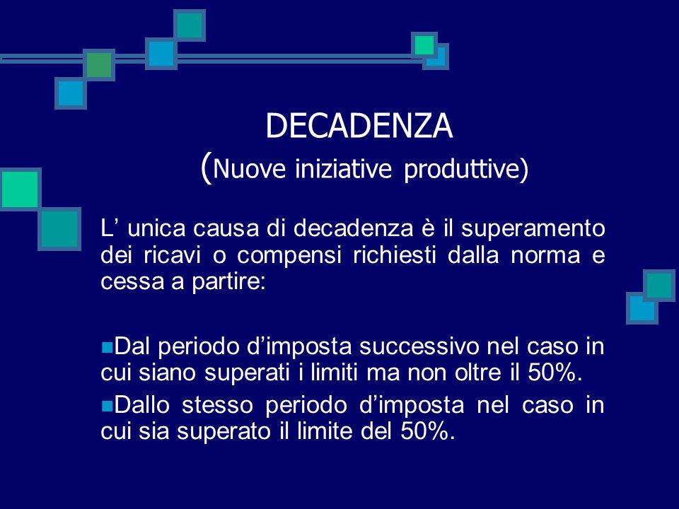 DECADENZA (Nuove iniziative produttive)