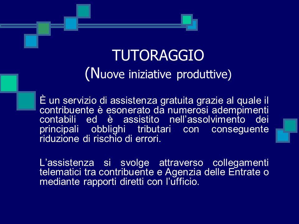 TUTORAGGIO (Nuove iniziative produttive)