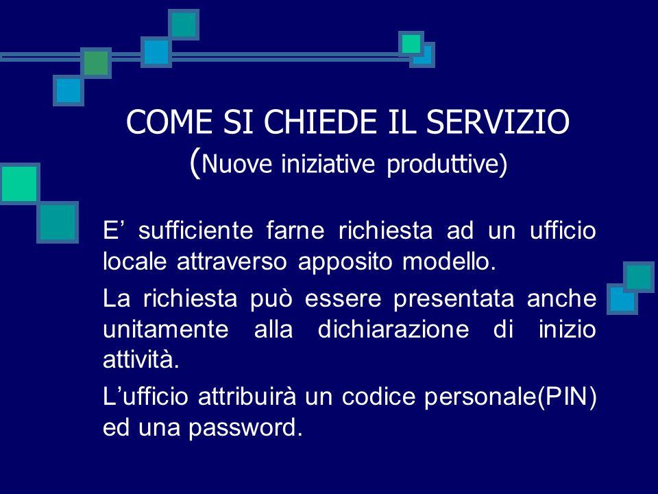 COME SI CHIEDE IL SERVIZIO (Nuove iniziative produttive)