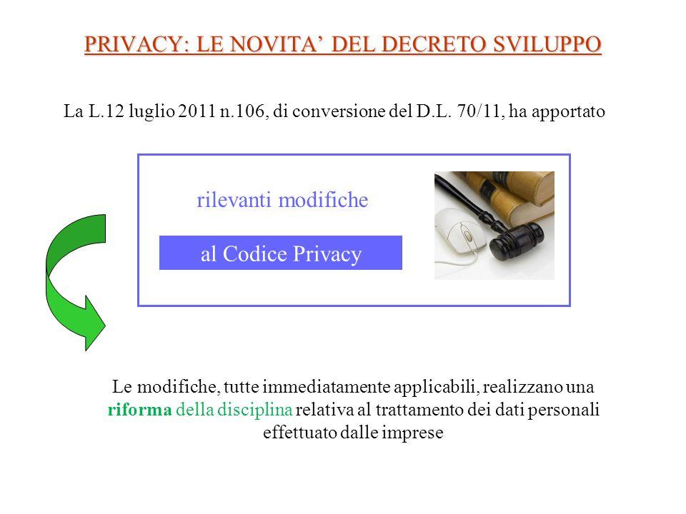PRIVACY: LE NOVITA' DEL DECRETO SVILUPPO