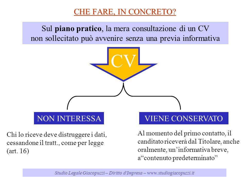 CHE FARE, IN CONCRETO Sul piano pratico, la mera consultazione di un CV. non sollecitato può avvenire senza una previa informativa.