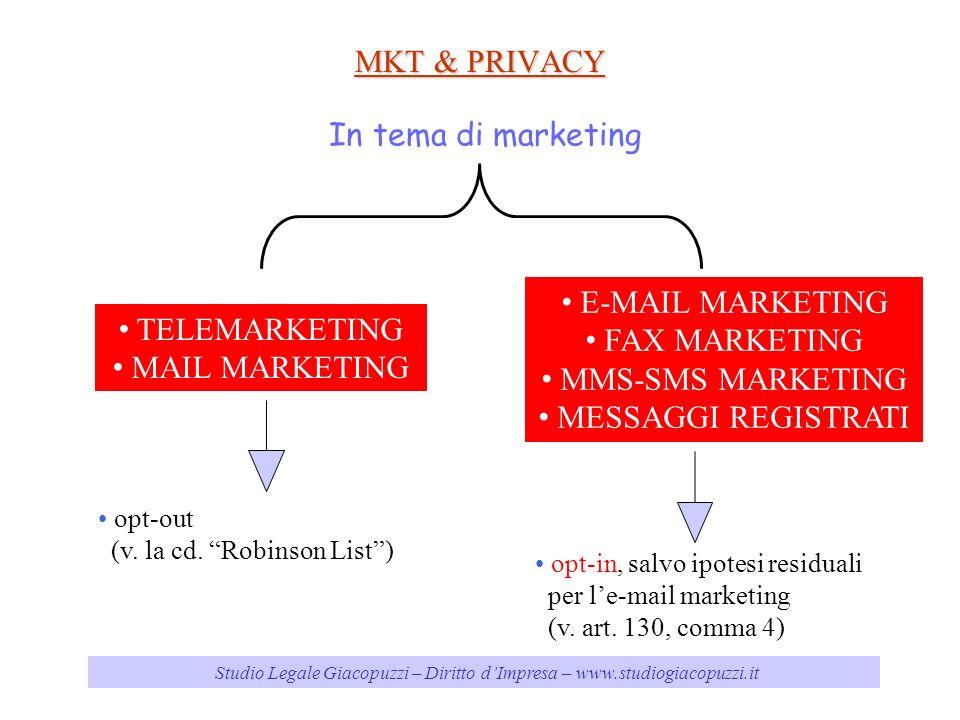 MKT & PRIVACY In tema di marketing E-MAIL MARKETING FAX MARKETING