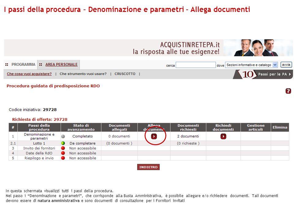 I passi della procedura – Denominazione e parametri – Allega documenti