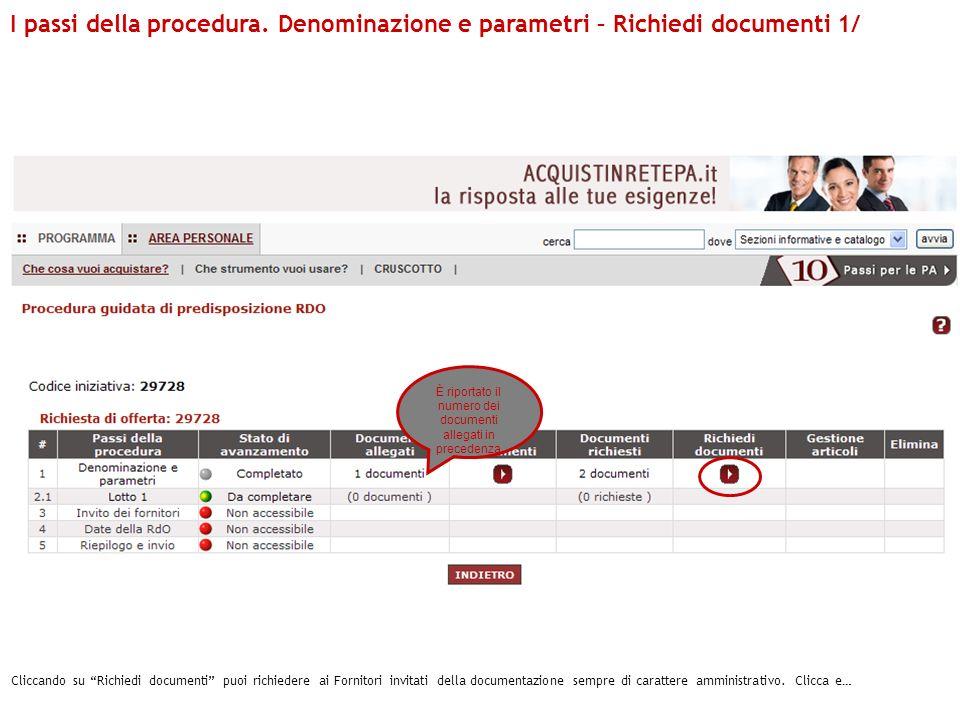 È riportato il numero dei documenti allegati in precedenza