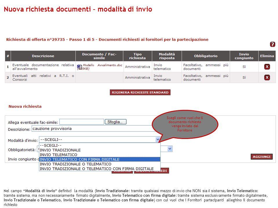 Nuova richiesta documenti – modalità di invio
