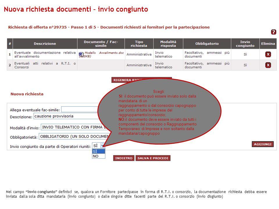 Nuova richiesta documenti – invio congiunto