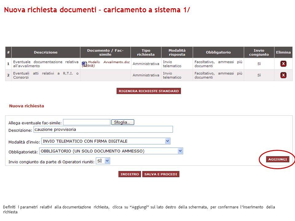Nuova richiesta documenti – caricamento a sistema 1/