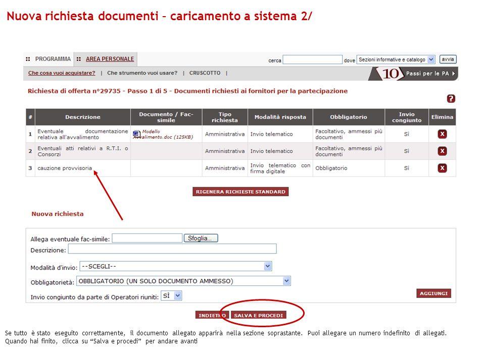 Nuova richiesta documenti – caricamento a sistema 2/