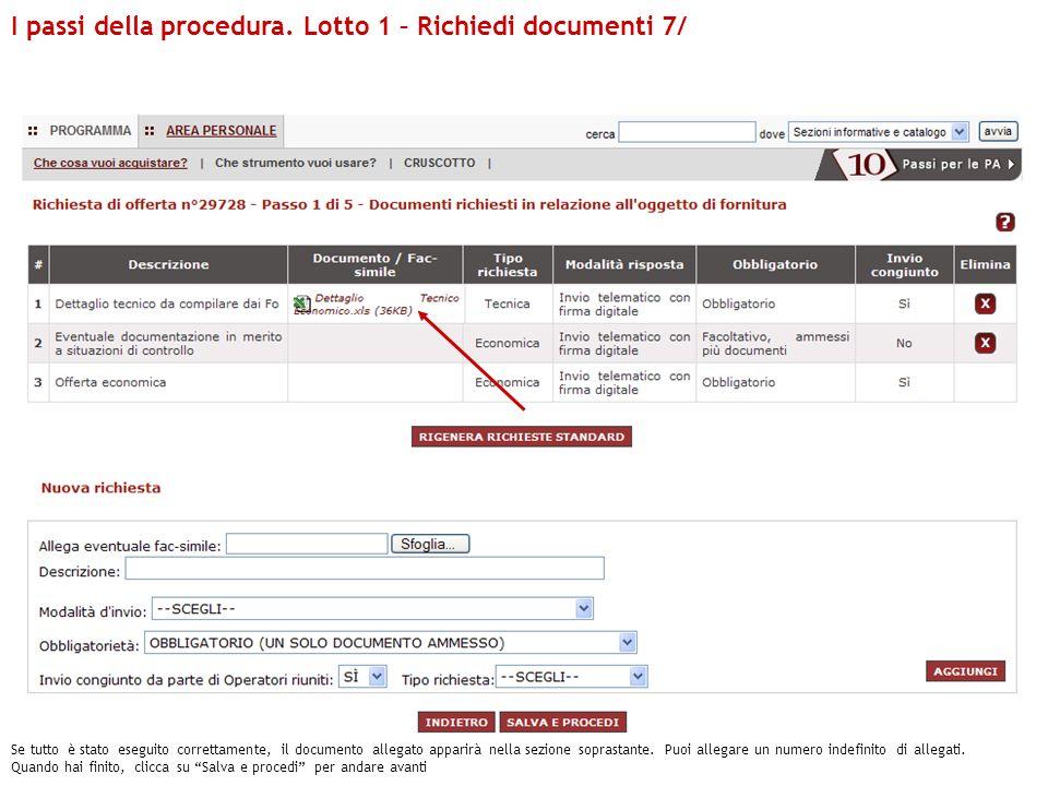 I passi della procedura. Lotto 1 – Richiedi documenti 7/