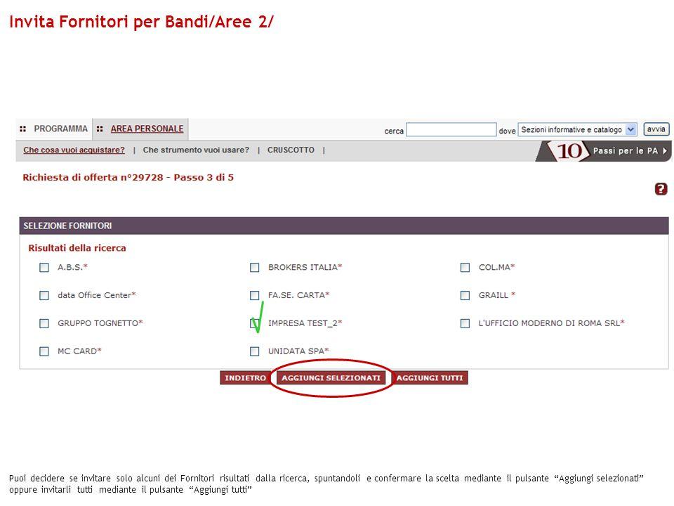 Invita Fornitori per Bandi/Aree 2/