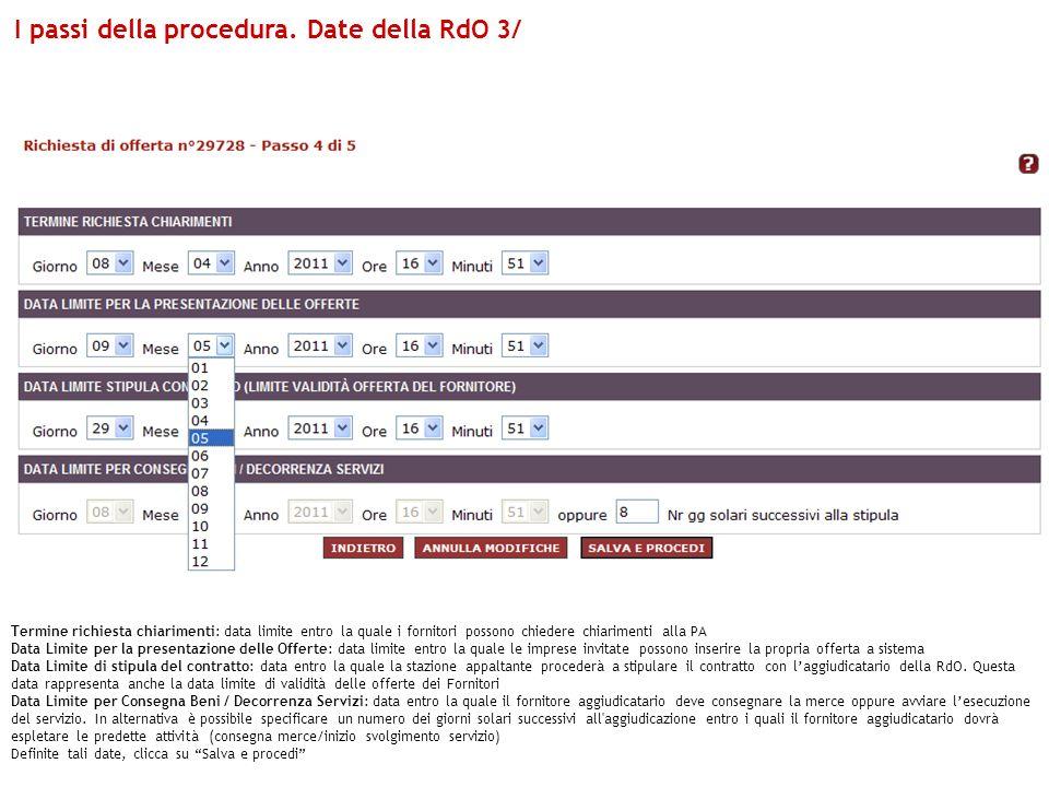 I passi della procedura. Date della RdO 3/