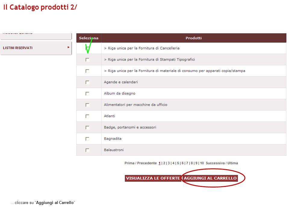 Il Catalogo prodotti 2/ …cliccare su Aggiungi al Carrello