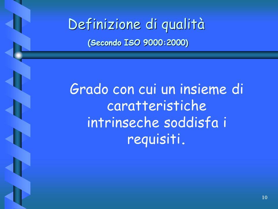 Definizione di qualità (Secondo ISO 9000:2000)