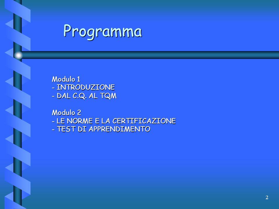 Programma Modulo 1 INTRODUZIONE DAL C.Q. AL TQM Modulo 2