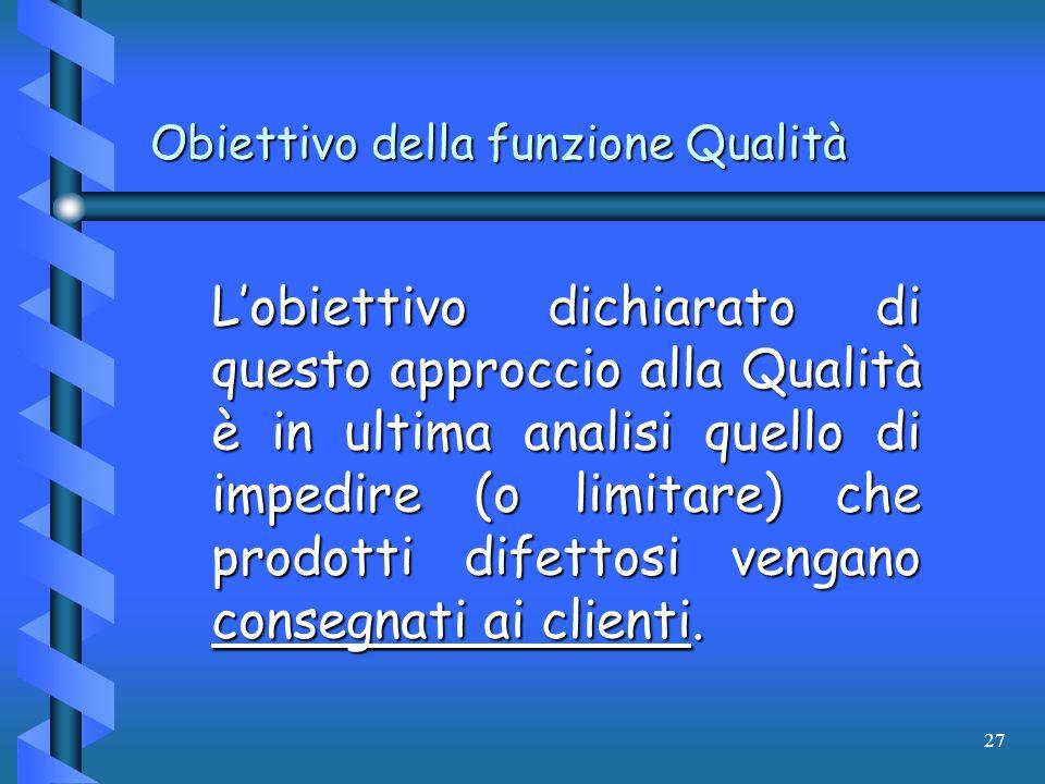 Obiettivo della funzione Qualità