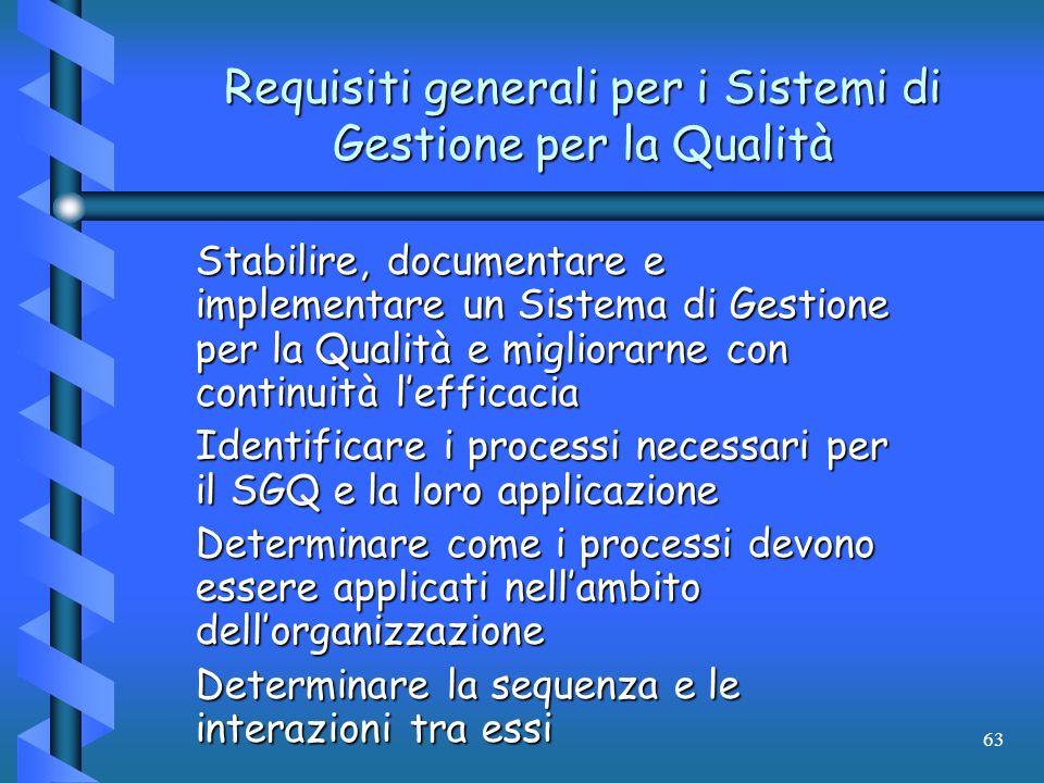 Requisiti generali per i Sistemi di Gestione per la Qualità