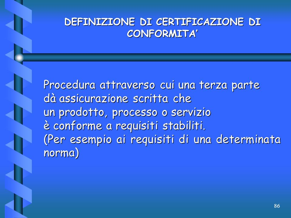 DEFINIZIONE DI CERTIFICAZIONE DI CONFORMITA'
