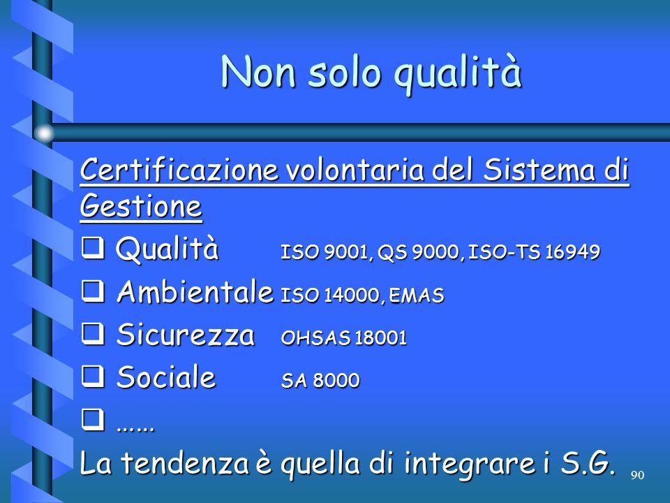 Non solo qualità Certificazione volontaria del Sistema di Gestione