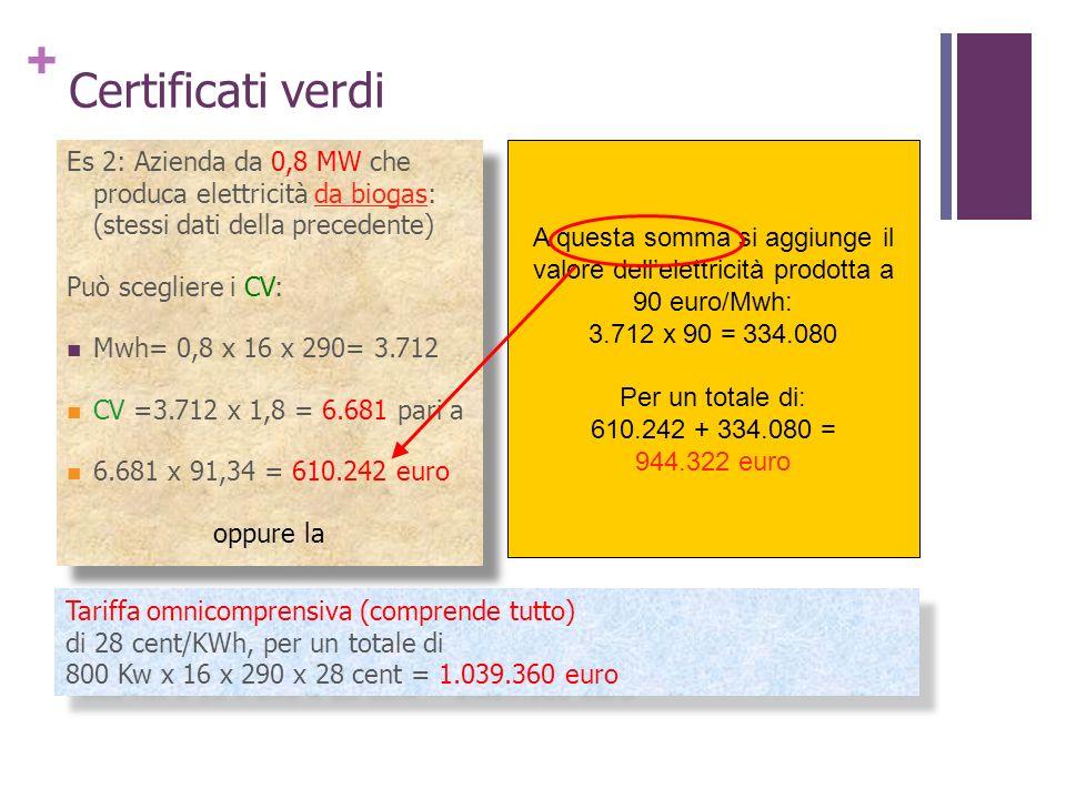 Certificati verdi Es 2: Azienda da 0,8 MW che produca elettricità da biogas: (stessi dati della precedente)