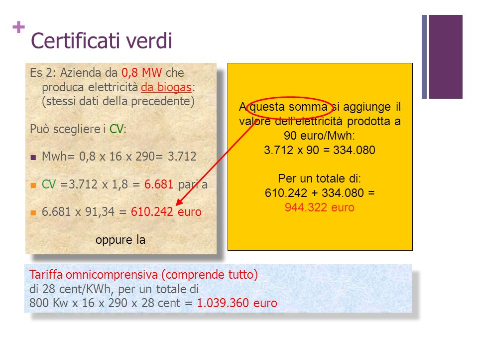 Certificati verdiEs 2: Azienda da 0,8 MW che produca elettricità da biogas: (stessi dati della precedente)