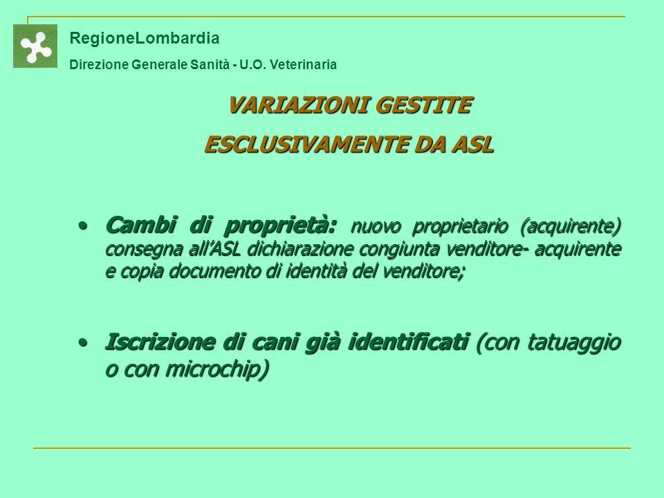 VARIAZIONI GESTITE ESCLUSIVAMENTE DA ASL